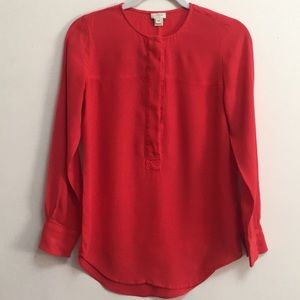 J. Crew Red Orange button-down Top (XXS)